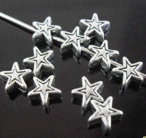 Tibetan Silver Star Spacer Beads Fit Jóias 6x3mm Navio livre novo