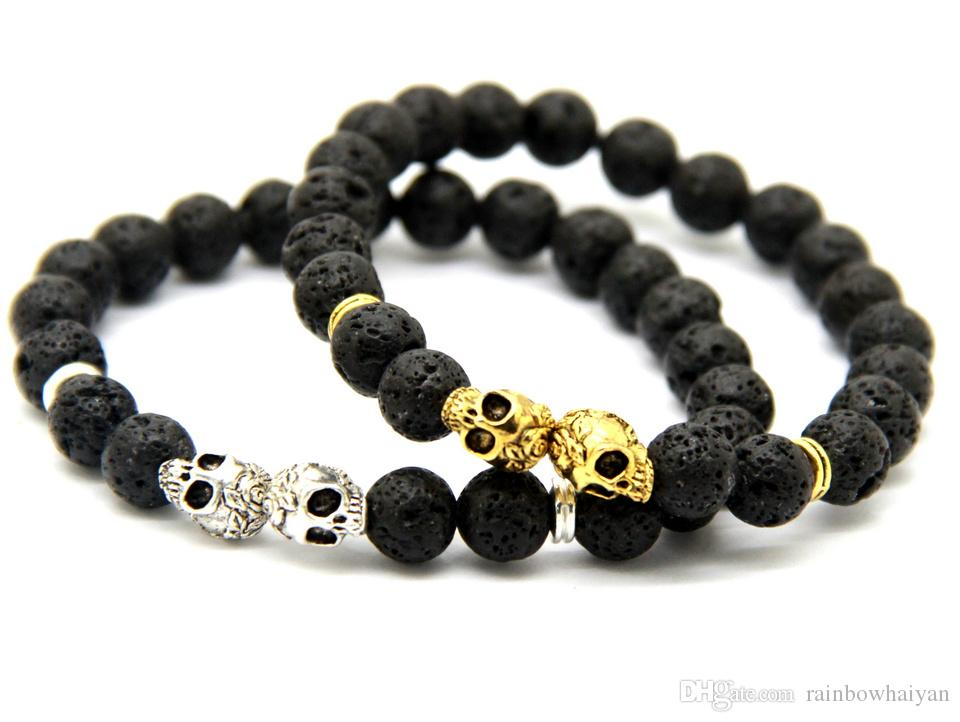 New Products Wholesale Christmas Gift 10pcs/lot 8MM Lava stone Beads Gold & Silver Skull Yoga Bracelets Party Gift