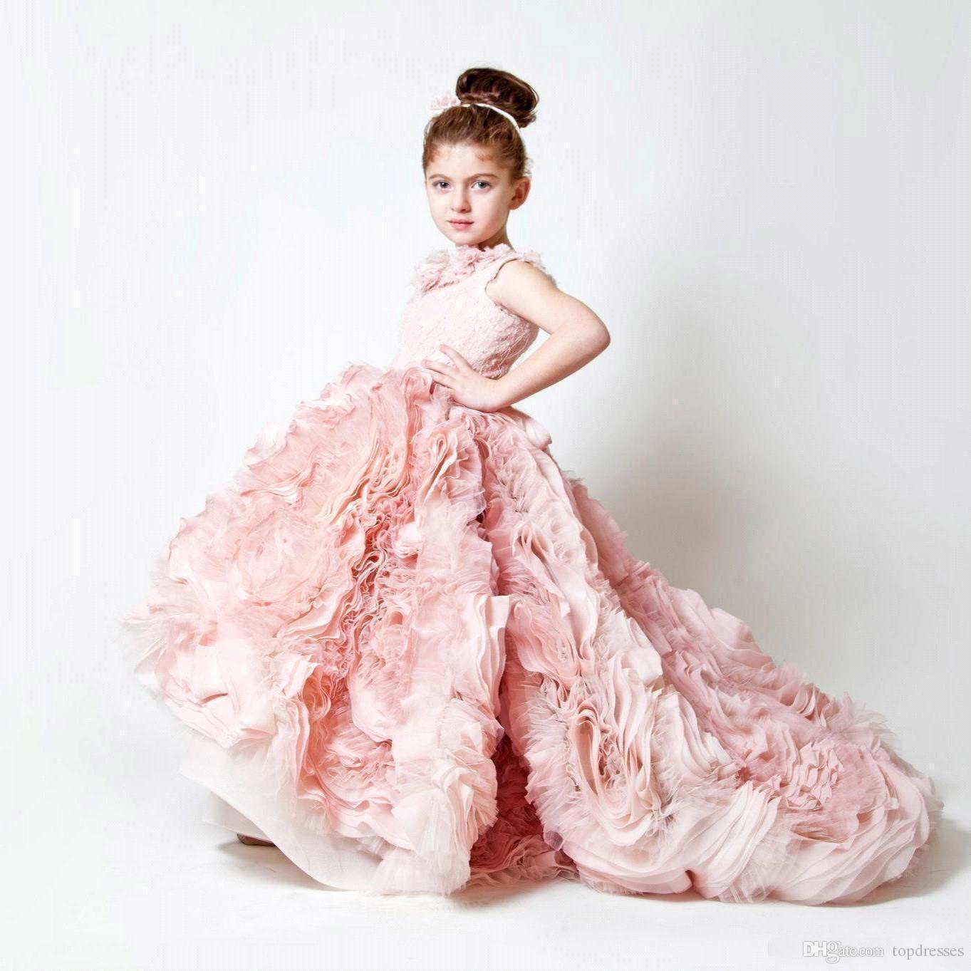 Compre Nuevo Cute Pink Jewel Neck Sweep Train Ruffles Vestidos De ...