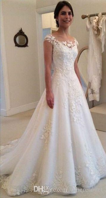 2019 Modest New Lace Appliques Wedding Dresses A line Sheer Bateau Neckline See Through Button Back Bridal Gown Cap Sleeves
