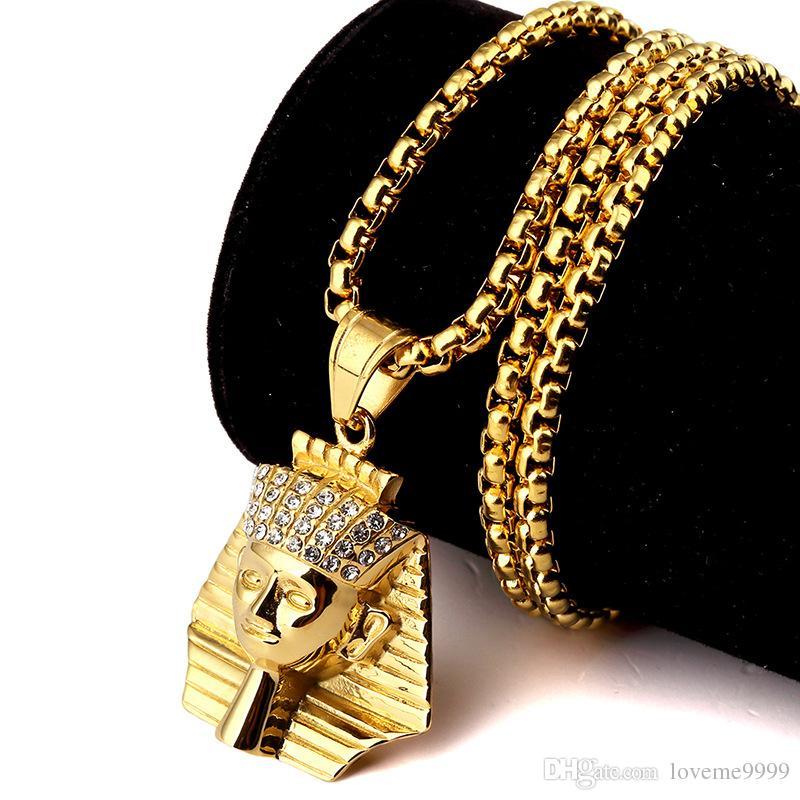 최고 판매 패션 힙합 망 고품질의 24K 골드 도금 스테인레스 망 마지막 왕 파라오 펜던트 목걸이 쥬얼리 세트
