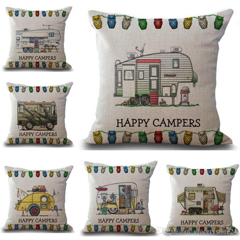 bdbb7c6fdfa 10 Types Happy Campers Waist Pillow Case Happy Campers Pillow Cover Throw  Cushion Decal Linen Blend Matereial King Duvet Cover Body Pillow Cover From  ...