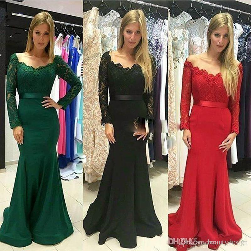 2018 Modest Dark Green Long Sleeve Evening Party Dresses Lace Stain Elegant Long Mermaid Fishtail Formal Prom Gowns Vestidos