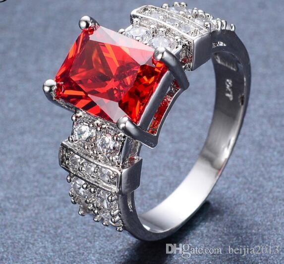 Gratis verzending maat 6-10 sieraden gloednieuwe mode kubieke zirkoon smaragdd 14k wit vergulde ring RW0755