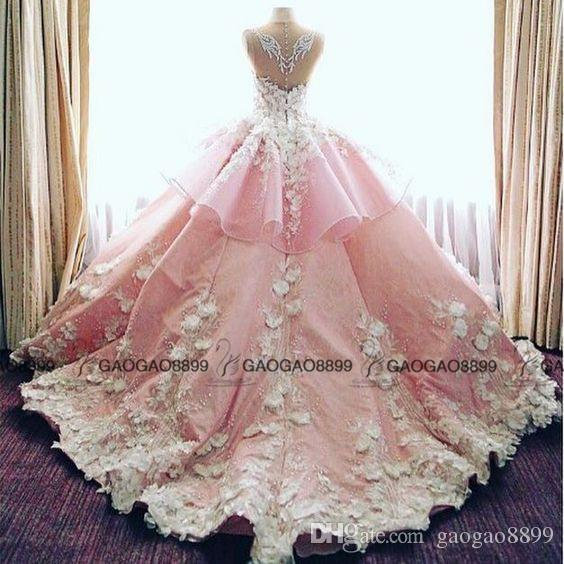 2019 New Luxury 3D Floral Cathedral Train Garden Wedding Dresses Pink Baby Blue Sheer Neck Peplum Handmade Flower Arabic Wedding Gowns
