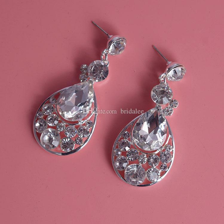 Retro Vintage Designer Water Drop Wedding Jewelry Clear Austrian Crystal Rhinestone Earrings Necklace Jewelry Sets