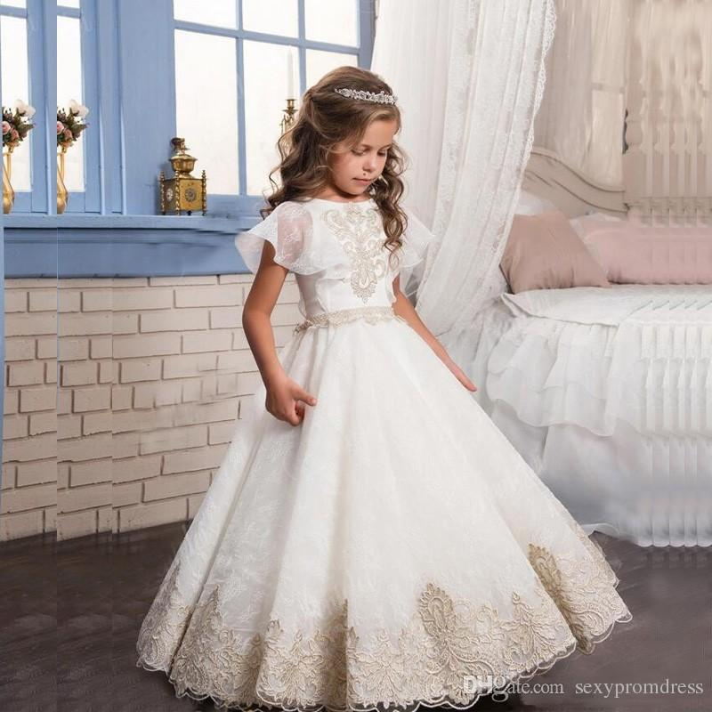 Angel Princess White Flower Girl Dresses With Champagne Lace Applique Arabic Girl Pageant Gowns Children Formal Party Dresses Cheap