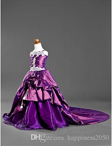 Purple Spaghetti Straps Chapel Train Taffeta Flower Girl Dress Girl's Pageant Dresses Princess Holiday Skirt Custom Size 2-14 H907019
