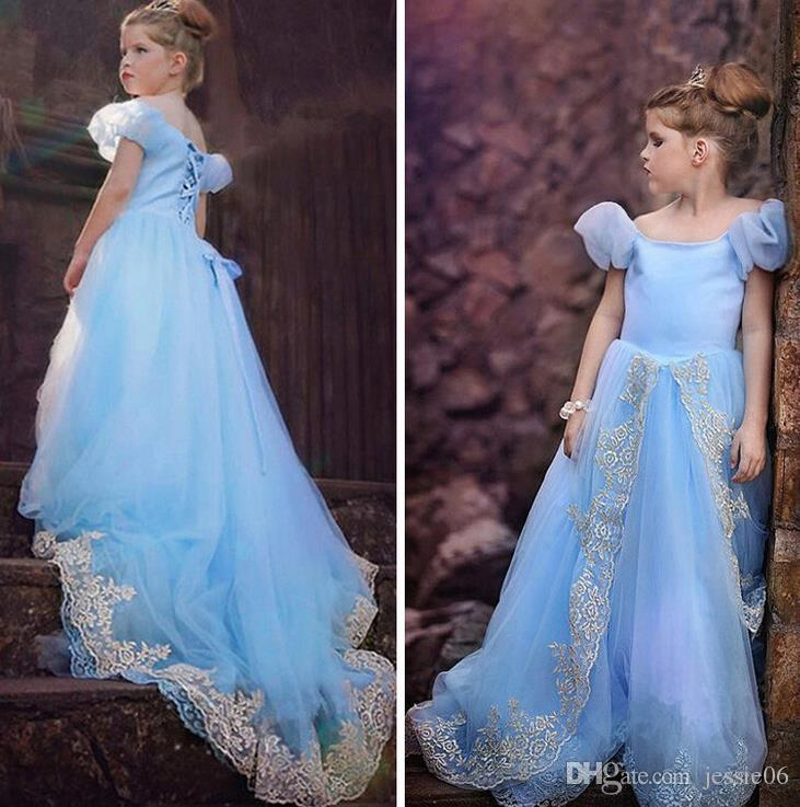 f18dcf3cf9 2019 Children S Cosplay Princess Cinderella Costume Dresses Kids Girls  Party Fancy Dress Fairy Fishtail Dovetail Dress Party Ball Gown Blue From  Jessie06