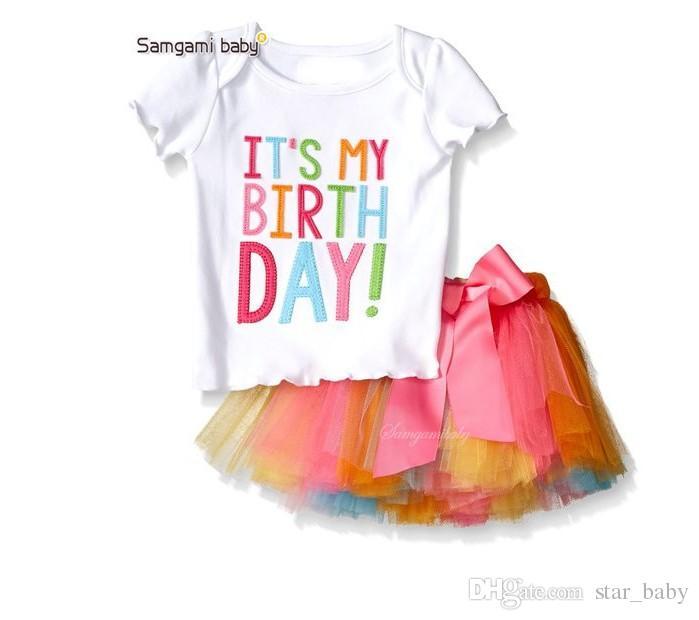 Girl INS Letters Bowknot Lace Rainbow Skirt Suit New Children Fashion Cartoon Short Sleeve T-shirt + Short Skirt Set Suits K7686