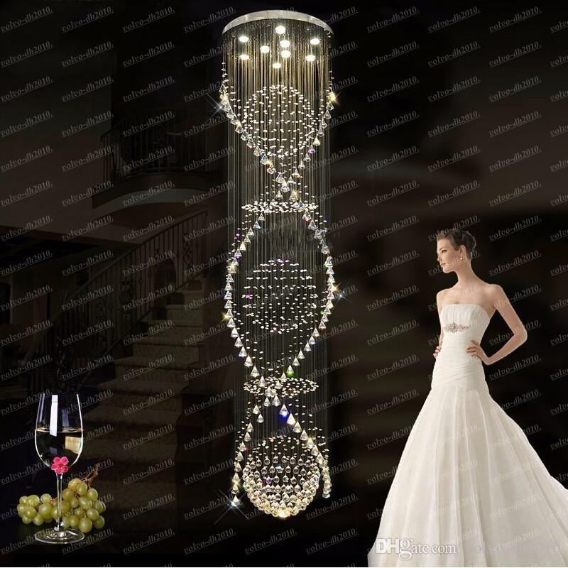 Chandelier Crystal Long Spiral Crystal Chandelier Light Fixture for Hotel,lobby, Staircase Round Lustre, Stairs, Foyer Large Stair Lighting