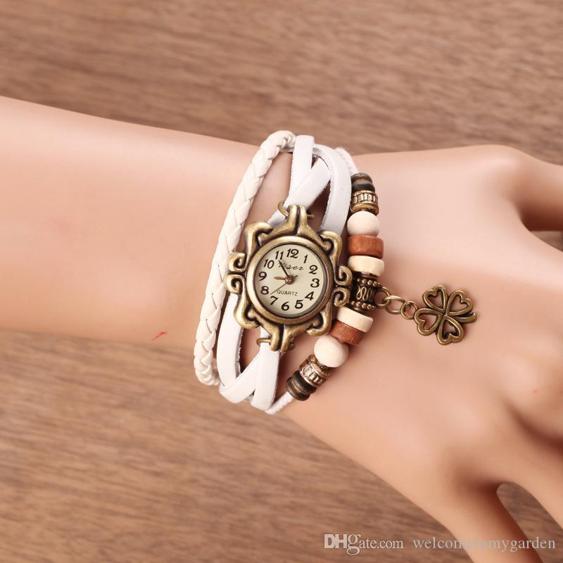 hot new Leather Hand Knit Vintage Watches Dress bracelet Women Girls Ladies Clover Pendant Retro