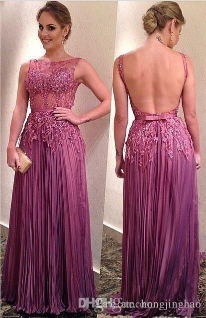 2019 Sexry Back A Line Scoop Sleeveless Evening Dress Floor Length Chiffon Tassel Prom Gowns