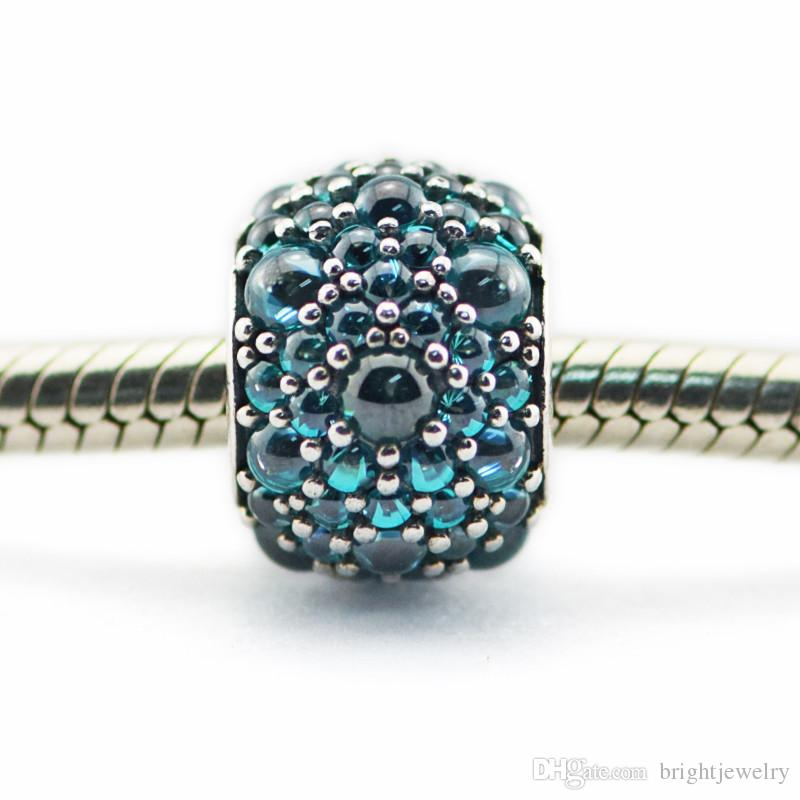 Authentic 925 Sterling Silver jewelry Teal Shimmer Droplet Charm DIY making Fits Pandora original charm bracelet 2016 summer new wholesale