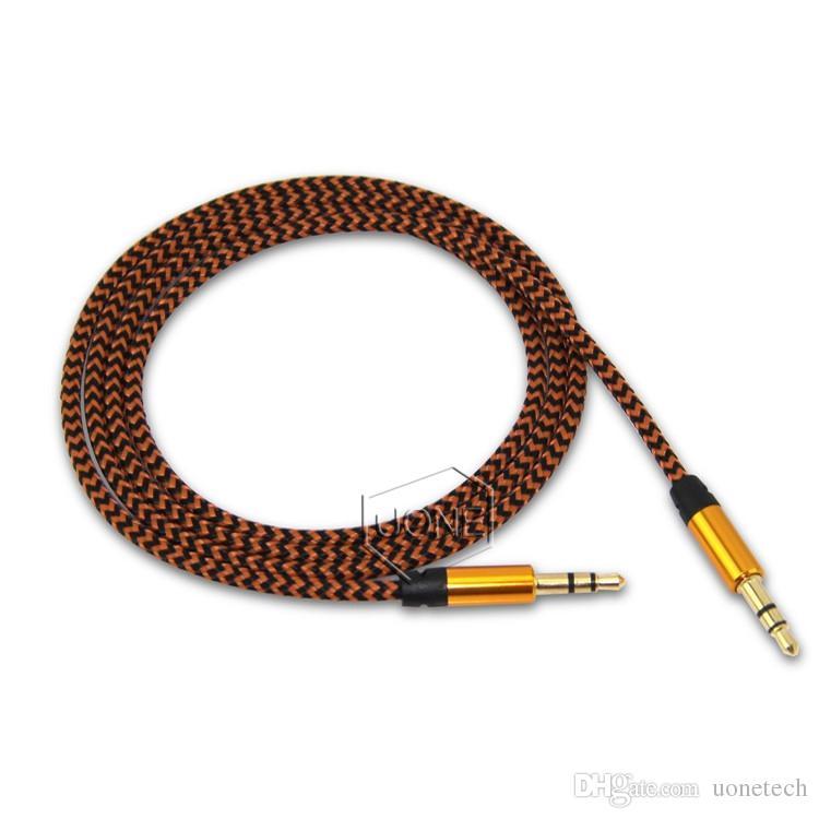 1M 3 ft Araç Ses AUX İlavesi Kablo Naylon Örgülü Yardımcı Stereo Andrio Cep Telefonu Hoparlör için Jack 3.5mm Erkek Kurşun kablolu