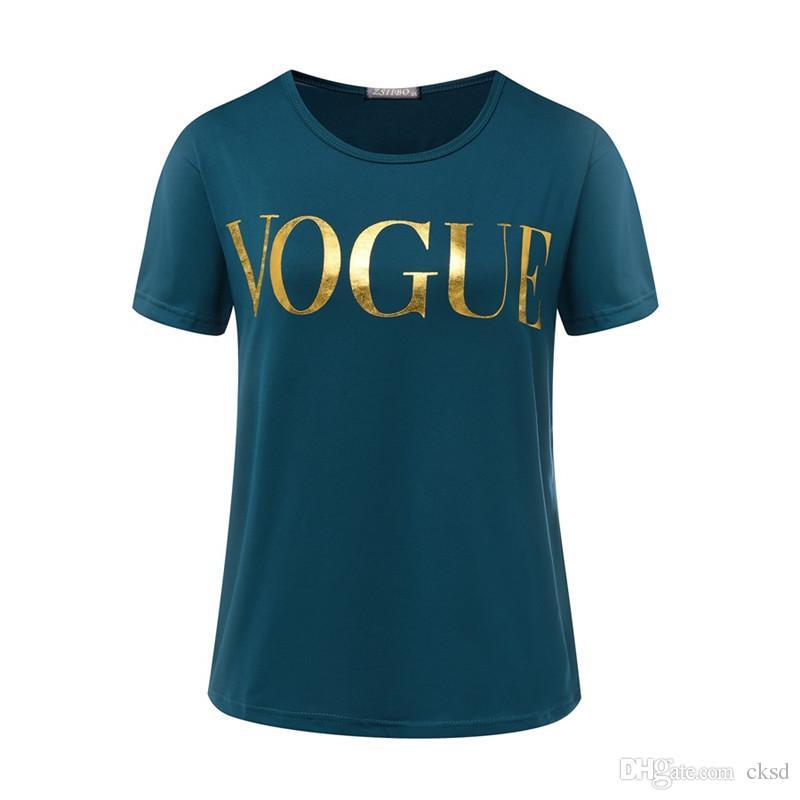 Мода Золотой VOGUE футболки для женщин Hot Letter печати Тенниска короткий рукав топов плюс размер женщин тройников Tshirt WT08 WR