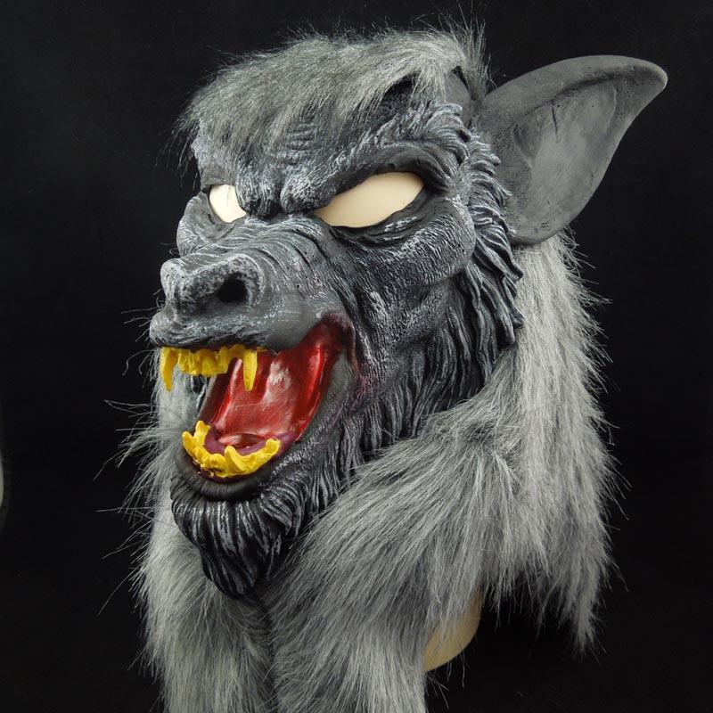 On Sale Halloween mask Creepy Black Wolf Yellow Teeth Fierce Open Mouth Wolf Horror animal mask
