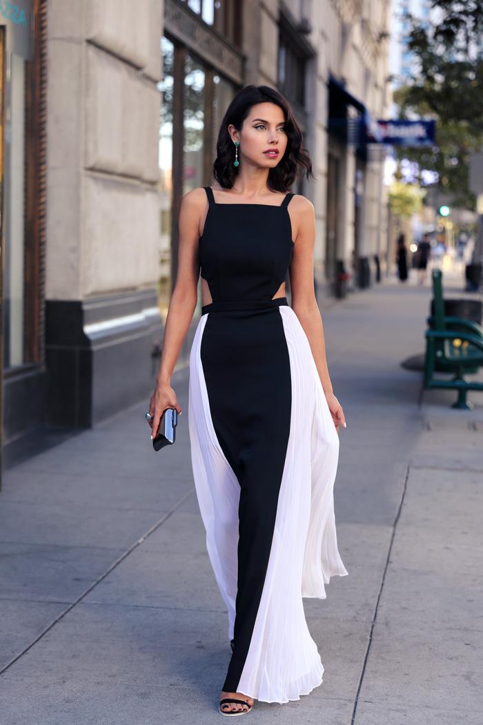 Moda blanco y negro vestidos de noche vestido de fiesta de gasa lados cortados sin respaldo pliegues vestidos de noche formales vestidos de festa vestidos maxi