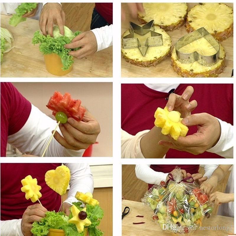 12 Adet / takım Paslanmaz Çelik Yıldız / Kalp / Çiçek / Yuvarlak Çerez Fondan Kek Kalıp Bisküvi Kalıp Meyve Sebze Kesici Mutfak Aracı