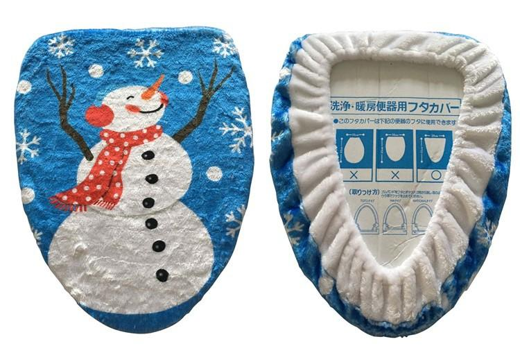 Cute Cartoon Snow Man Toilet Seat Cover Polyester + Plush Printed Christmas Decorations Toilet Mats