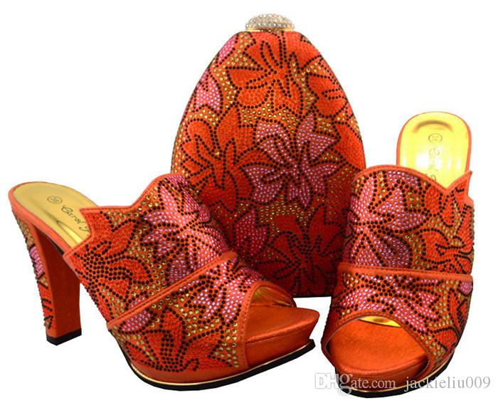 Luxury yellow women pumps african shoes match handbag set rhinestone lady shoes for dress BCH-32,heel 11.5CM