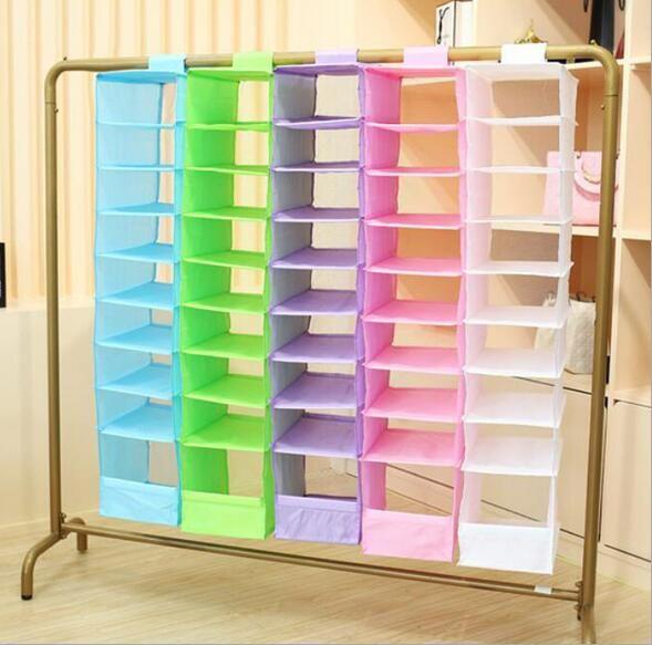 Storage Boxes Bins 9 Cell Hanging Box Underwear Sorting Clothing Shoe Jean Storage Mails Door Wall Closet Organizer Closet Organizador Bag