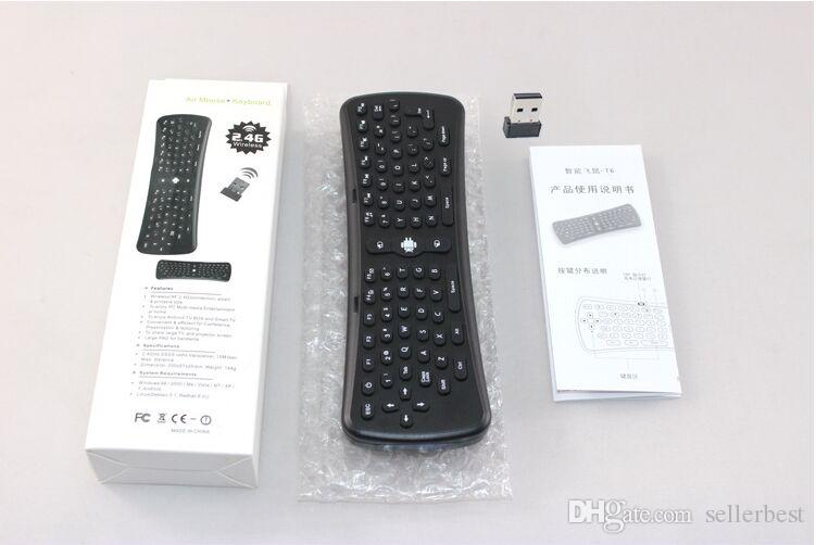 Universal Wireless USB T6 2.4GHz 6 axis Mini Fly Air Mouse Airmouse Gyro Sensing QWERTY Keyboard For Android TV Box Excellent VR
