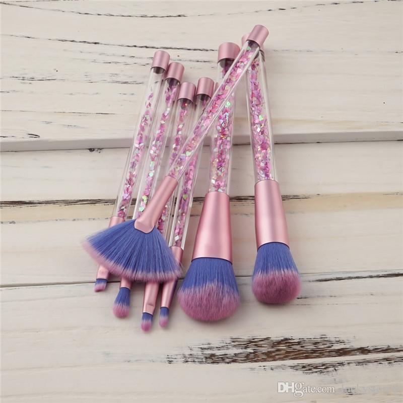 7 unids Mermaid Series Set de Cepillo de Maquillaje Arena movediza Crystal Cosmetics Brushes Powder Eyeshadow Foundation herramienta de Maquillaje DHL envío gratis