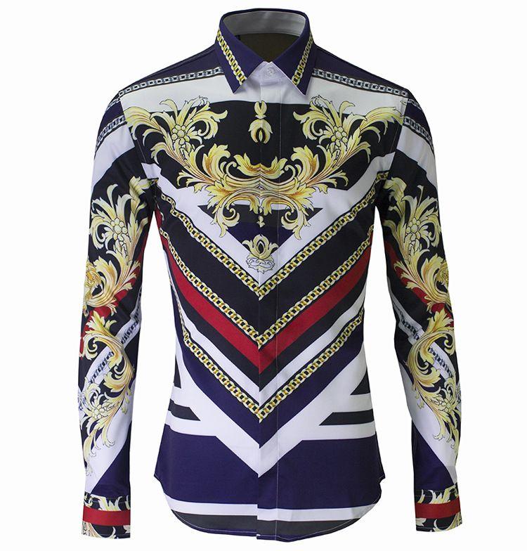 Chemise à manches longues homme style sportif Royal Printes Chemise Casual style européen et américain Slim Camisa Masculino