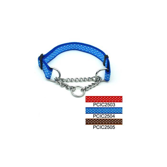 Hot Pet supplies dog collars adjustable Dots Print Choke Chain Collars 2.5cm width dog accessories