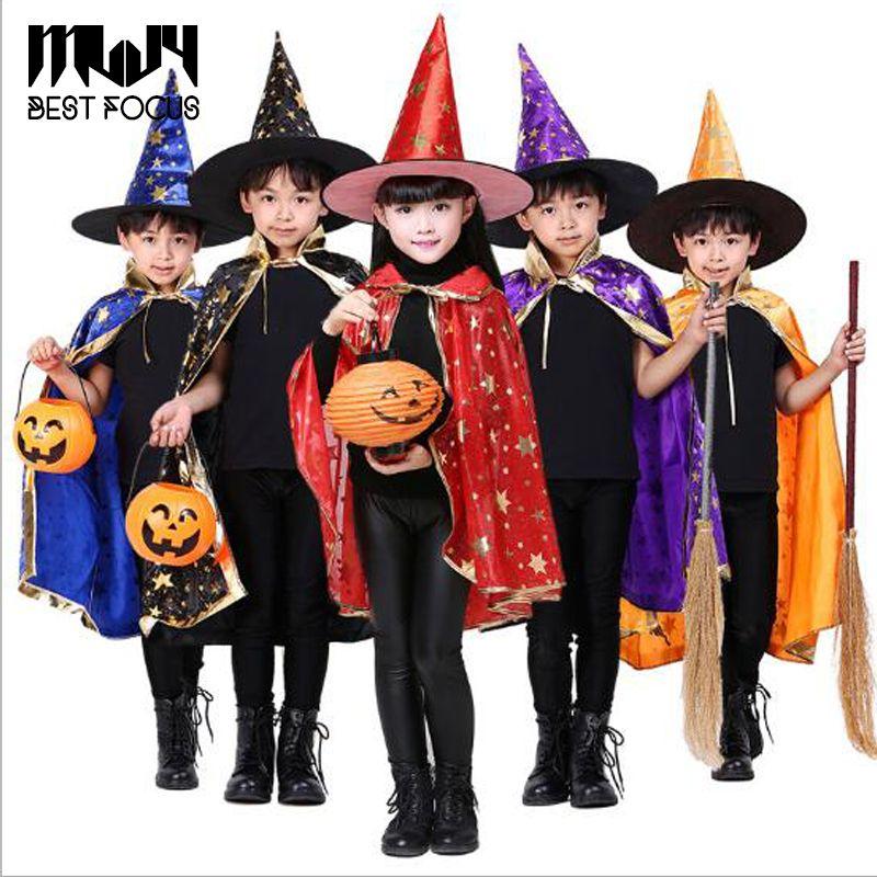 children halloween costumes kids witch wizard cloak gown robe with hat cap stars fancy dress up cosplay chirstmas best halloween costumes toddler halloween