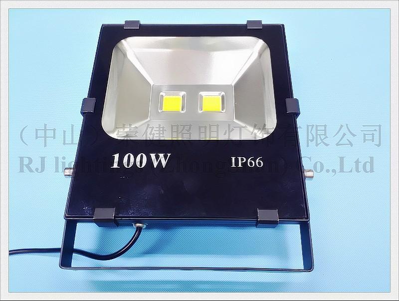 新しいラジエーターLEDフラッドライトライトライト100W(2 * 50W)COB AC85-265V入力10000LM IP65 CE強化ガラスアルミニウム新デザイン