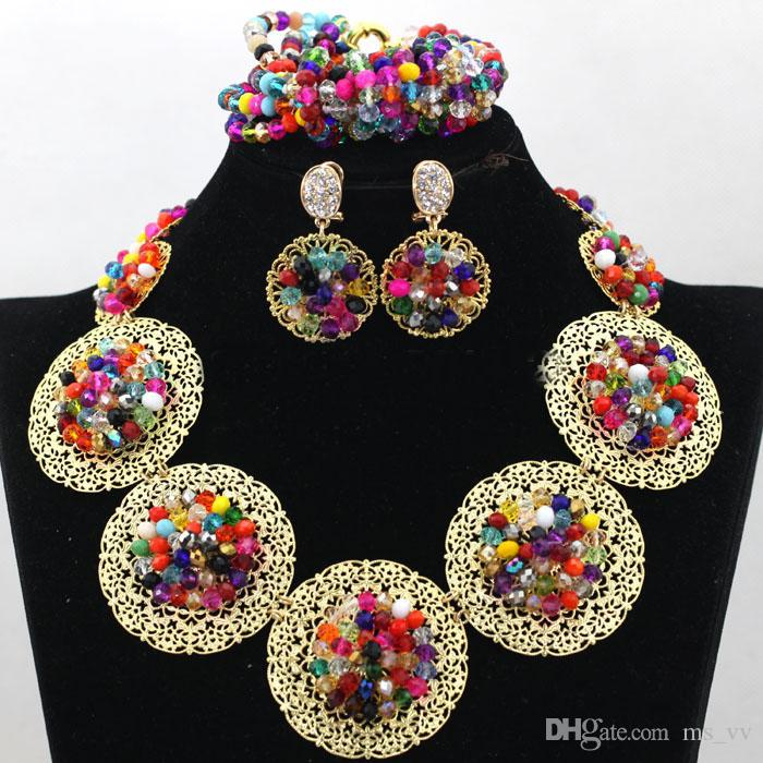 fashionable jewelry nigerian wedding gold crystal beads african beads jeweley set bracelet pendant necklace & stud earrings Jewelry Set