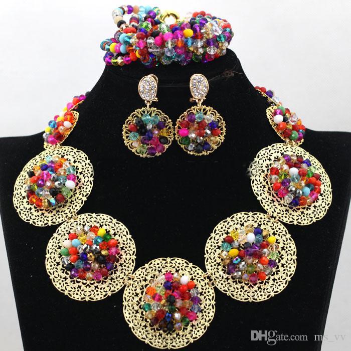 set di gioielli africani colore fushia dubai insieme dei monili dell'oro 18 k gp partita fatta a mano fushia nigeriano aso oke headtie wrap
