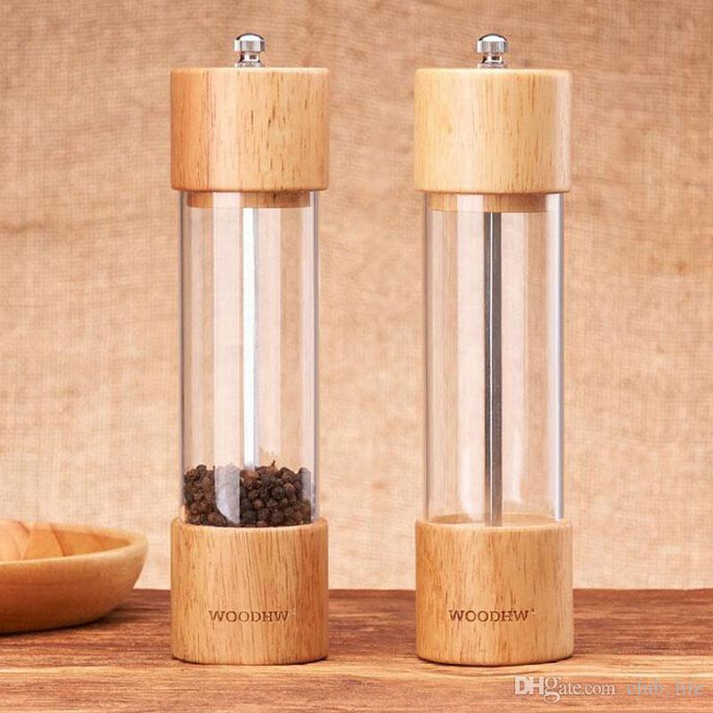 Wooden Black Pepper Mill Manual Pepper Mill Kitchen Seasoning Bottles Multi-purpose Bottle Kitchen Tools ZA5361