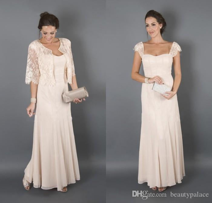 Bridal Mother Dresses For Beach Wedding Long Cap Sleeves Wedding