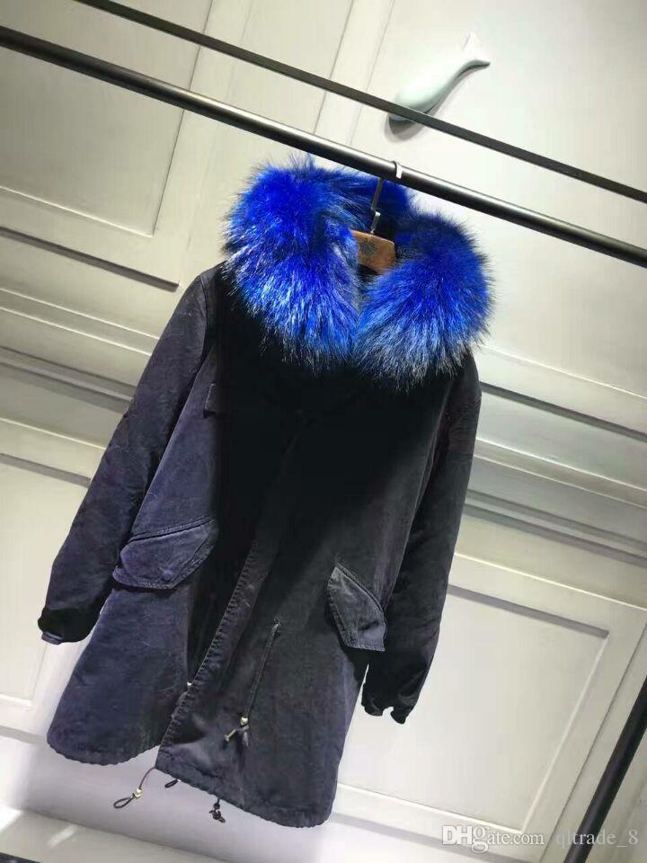 2018 Mmf Fox Fur Jackets Blue Fur Black Long Coats Mr And Mrs ...