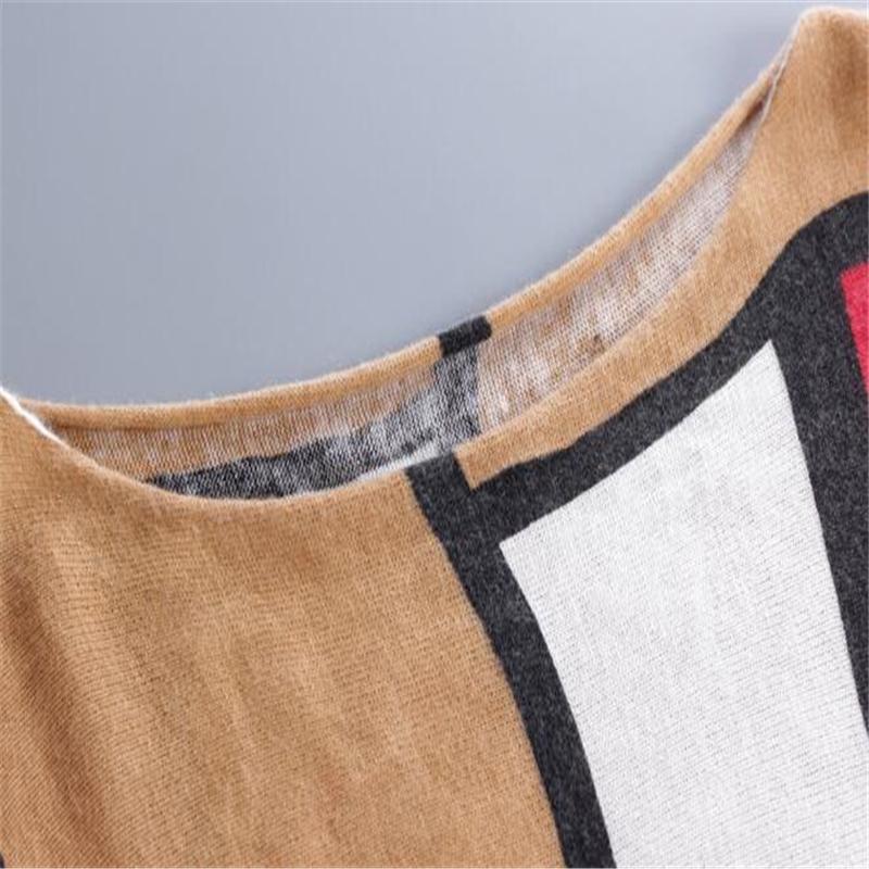 Automne Hiver Europe Nouvelle Mode De Haute Qualité Femmes Chandails De Mode Batwing Manches Imprimer Slash Neck Pulls grande taille Pull Tricoté
