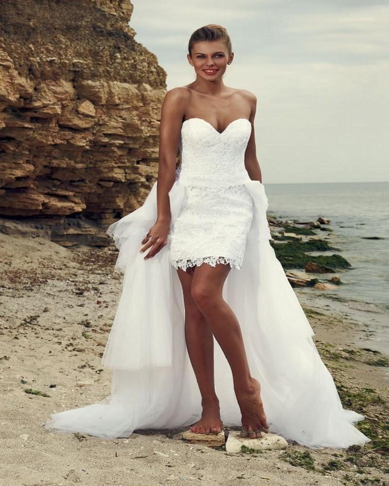 2016 Beach Lace Bröllopsklänningar Overkirts Ruffle En linje Sweetheart Back Lace Up Avtagbar Tåg Brudklänningar Vestidos de Novia