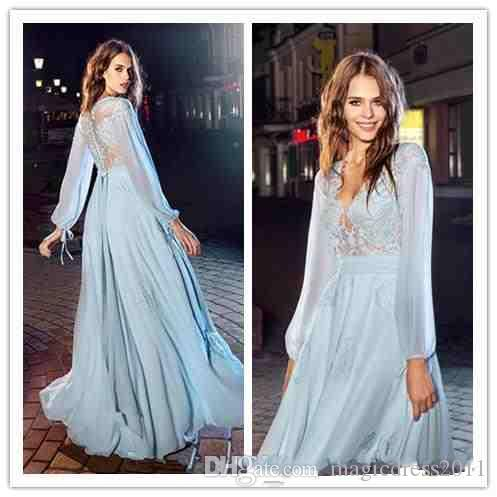 2018 Summer Spring Long Sleeve Prom Dresses Deep V Neck Lace Hollow ...