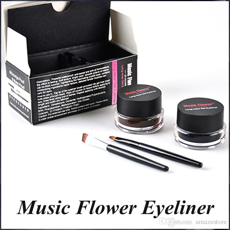 Hot New Music Flower Gel Eyeliner Black brown Eyeliner lasting waterproof Cosmetics Set Eye Liner Kit
