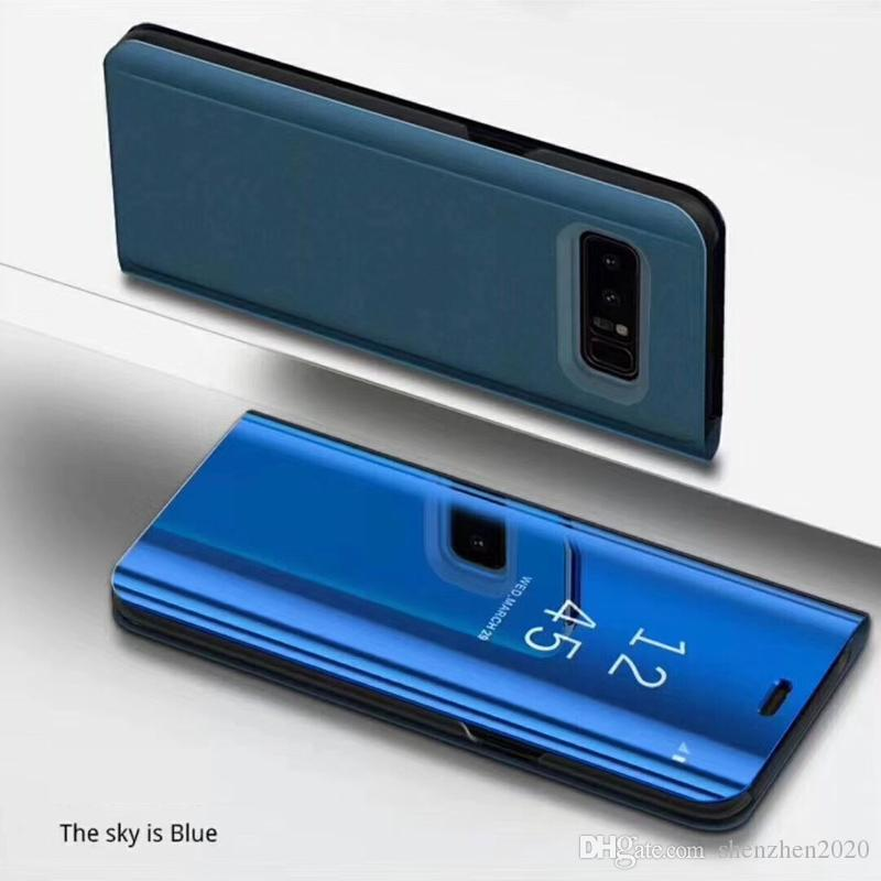Holder Phone Case Electroplate Clear Smart Kickstand Mirror View Flip Cover Sleep wake For iphone 6 7 8 X samsung s7 S8 plus note8 2017