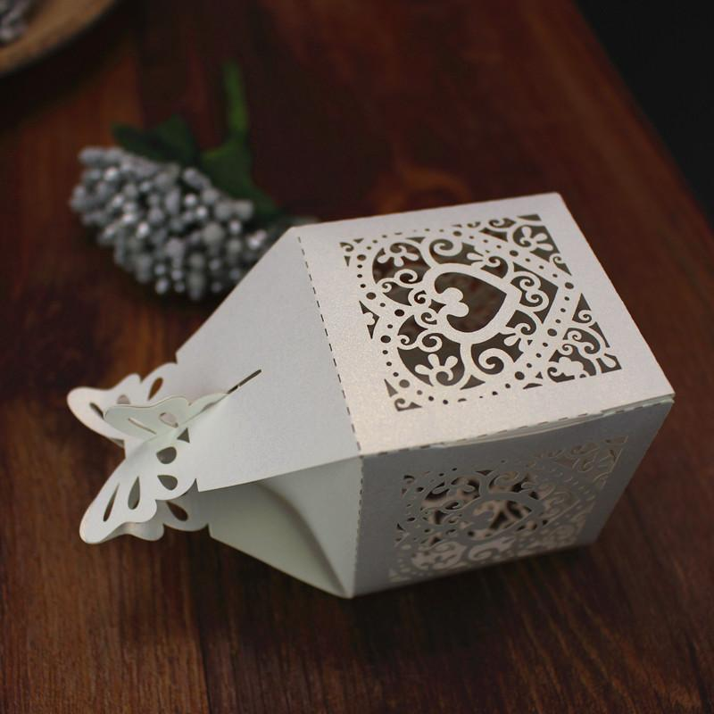Handmade wedding favor boxes bridal shower engagement shinning butterfly heart laser cutting favor gift boxes free ship