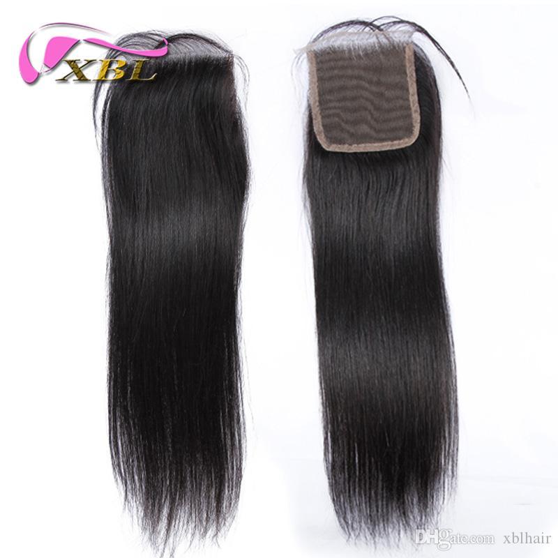 Закрытие человеческих волос девственные бразильские человеческие волосы топ кружева закрытия купить два получить один бесплатно по XBL