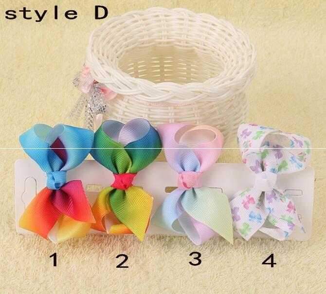 Xmas Romantic jojo 7cm Pastel flora ombre Rainbow ribbon hair bows Alligator clips baby girl Dance hair bobbles Accessories HD3479