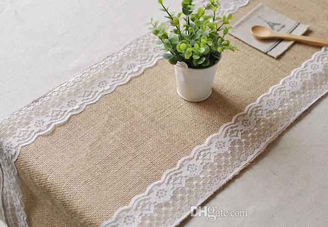 2018 Sale!!! 30cm*270cm Burlap Lace Wedding Table Runner/ Jute ...