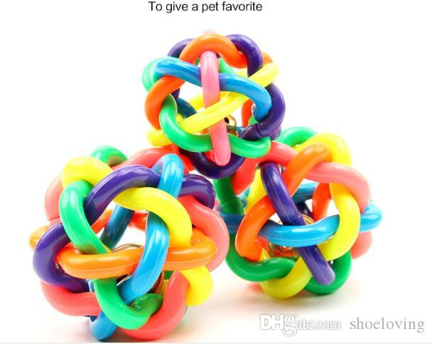 Rubber colorful Dog Toys bells ball Chews Pet molar dog toys ball 3 size DHL