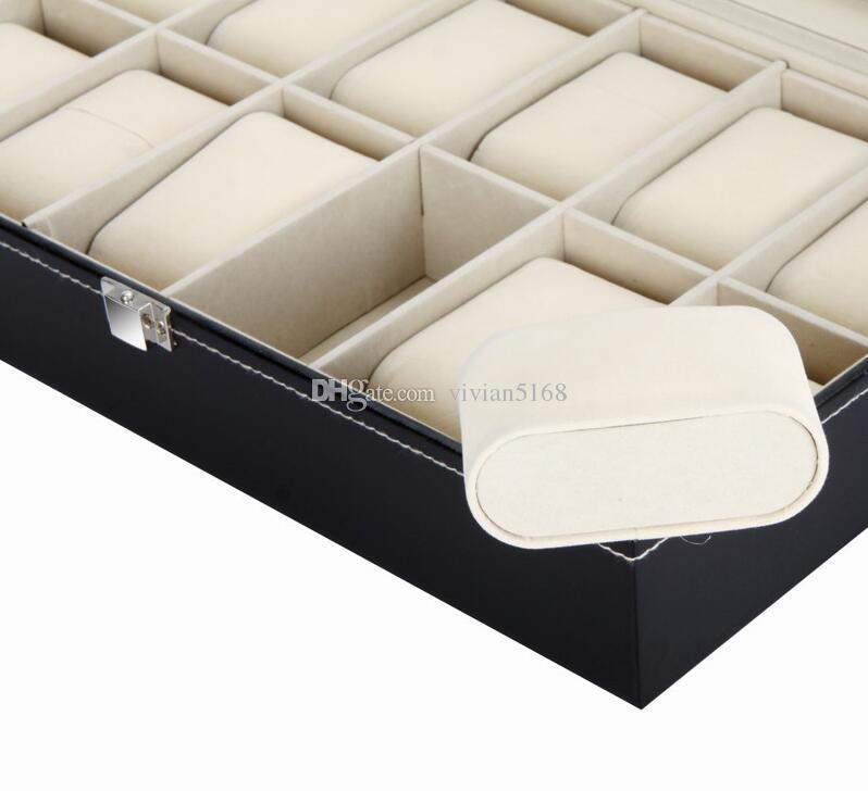 أعلى جودة العلامة التجارية بو الجلود ووتش عرض القضية جمع المجوهرات مربع منظم فتحات الشبكة 12 عرض الساعات تخزين مربع مربع القضية