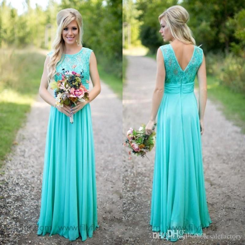 0cacaf607c2 Turquoise Long Country Bridesmaid Dresses Scoop Neckline Chiffon Floor Length  Lace V Backless Long Maid Of Honor Bridesmaid Dresses Bridesmaid Dressing  ...