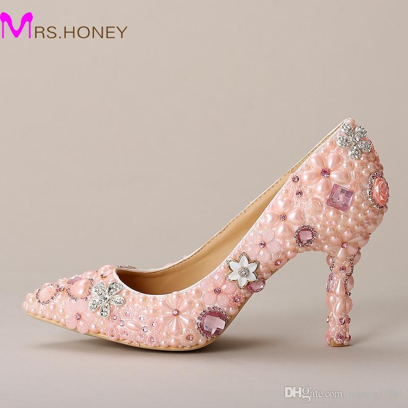 f07068193e7 Pink Wedding Shoes Pointed Toe Formal Dress Shoes Pearl Rhinestone Bridal  Shoes Women High Heels Mother Of The Bride Shoes Wide Fitting Wedding Shoes  ...